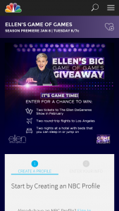 Nbcuniversal Media – Ellen's Big Game Of Games Giveaway Sweepstakes