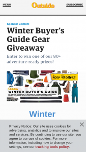 Outside Magazine – 2018/2019 Winter Buyer's Guide Giveaway – Win a Sweet Protection Switcher helmet