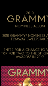 Republic Records – 2019 Grammy Nominees Album Flyaway – Win ground transportationin lieu of airfare if he or she resides within 100 mile radius of Los Angeles
