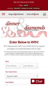 Rogers & Hollands – Dinner & Diamonds Sweepstakes
