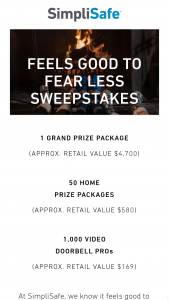 Simplisafe – Feels Good To Fear Less Sweepstakes