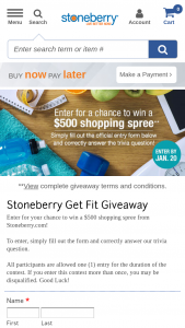 Stoneberry – Get Fit Giveaway – Win a $500 shopping spree on Stoneberrycom