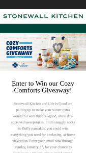 Stonewall Kitchen – Cozy Comforts Giveaway – Win Grand Prize Description (items by all participating partners