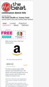 The Beat – $500 Amazoncom E-Gift Card Sweepstakes