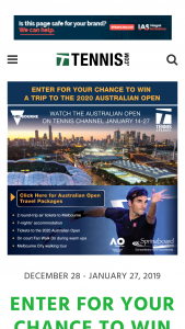 The Tennis Channel – 2020 Australian Open Trip Giveaway – Win a trip for two (2) to the 2020 Australian Open