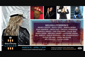 Tunespeak – Win A Cabin On The Melissa Etheridge Cruise 2019 – Win One (1) Cabin Room for 2 on the Melissa Etheridge Cruise sailing from Tampa and journey to Harvest Caye