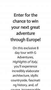 Wanderfull – Win Your Next Great European Adventure An 8-day Tour Of Italy Sweepstakes