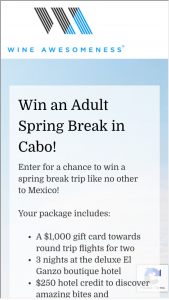 Wine Awesomeness – Adult Spring Break To Cabo Getaway Sweepstakes