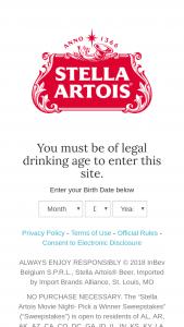 Anheuser Busch – Stella Artois Movie Night Pick A Winner Sweepstakes