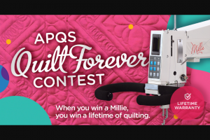 APQS – Longarm Giveaway – Win grand prize winner shall win the grand prize which consists of one (1) APQS Millie longarm quilting machine valued at $19700.