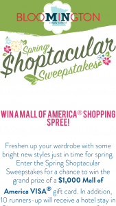 Bloomington Convention And Visitors Bureau – 2019 Spring Shopping Spectacular Sweepstakes