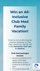 Club Med – Memories Of A Lifetime Sweepstakes