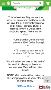 Dollar Tree – Customer Appreciation – Win a grand prize of one $500 Dollar Tree gift card