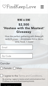 Findkeeplove – $2500 Hostess With The Mostest Giveaway Sweepstakes