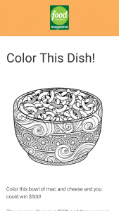 Food Network Magazine – March 2019 Color This Dish Contest – Win a $500 check (Total ARV $500).