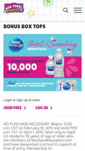 General Mills Box Tops For Education – Thirst – Win Box Tops which will be awarded to winner's designated school and paid out in the December 2019 school check ARV of each prize is $1000.00.