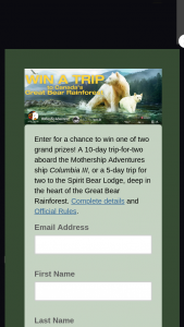 Macgillivray Freeman Film – Great Bear Rainforest – Win 10-day trip for two aboard Mothership Adventures' ship Columbia III for a kayaking trip into the heart of British Columbia's Great Bear Rainforest