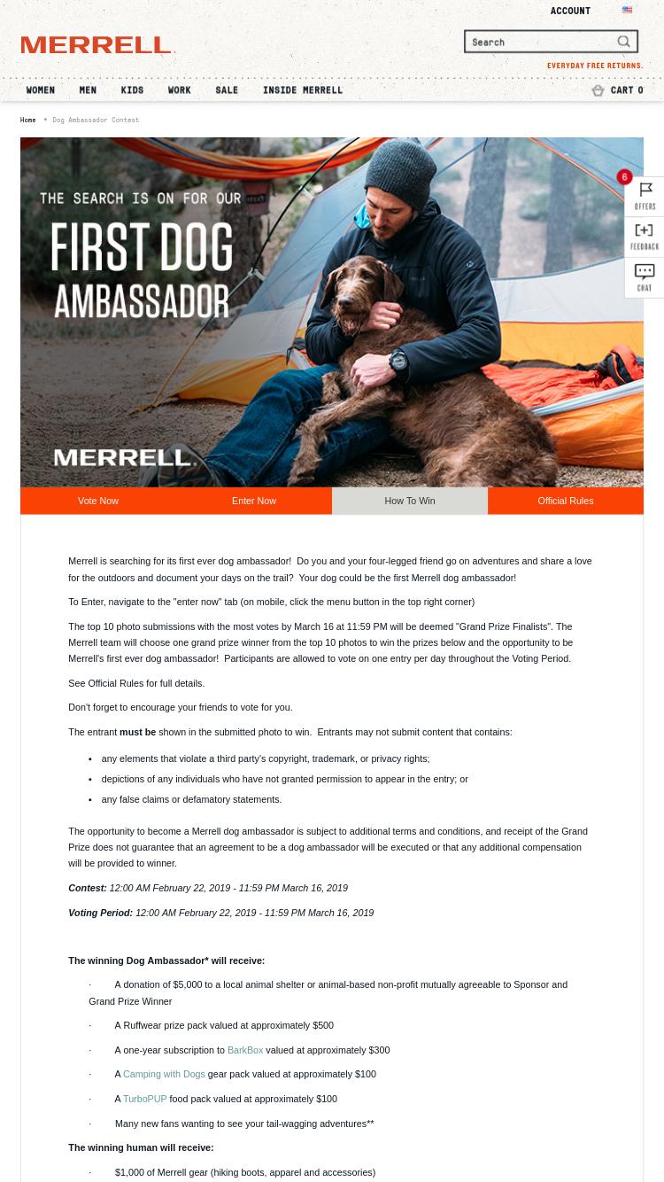 esittelijänä Amazon mistä ostaa Merrell – Dog Ambassador Search Contest Sweepstakes ...