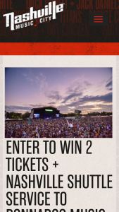 Nashville Convention & Visitors Corp – 2019 Bonnaroo Music & Arts Shuttle Package Giveaway Sweepstakes