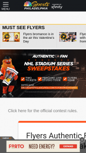 NBC Sports – Flyers Authentic Fan NHL Stadium Series Sweepstakes