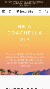 Peet's Coffee – Cold Brew Online Giveaway – Win two 3-Day VIP Passes to Coachella Valley Music and Arts Festival