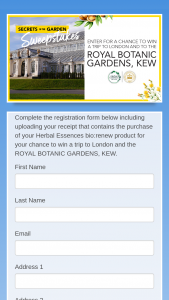Procter & Gamble – Secrets Of The Garden Sweepstakes By Herbal Essences – Win An 8-day/7-night trip for winner and one guest to London England to visit the Kew Gardens