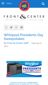 Rent-A-Center – Whirlpool Presidents Day – Win one (1) Whirlpool 4.8 Cu
