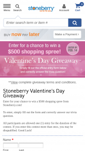 Stoneberry – Valentine's Day Giveaway – Win a $500 shopping spree on Stoneberrycom