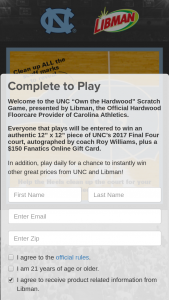 Unc Libman – Own The Hardwood – Win Gift Card