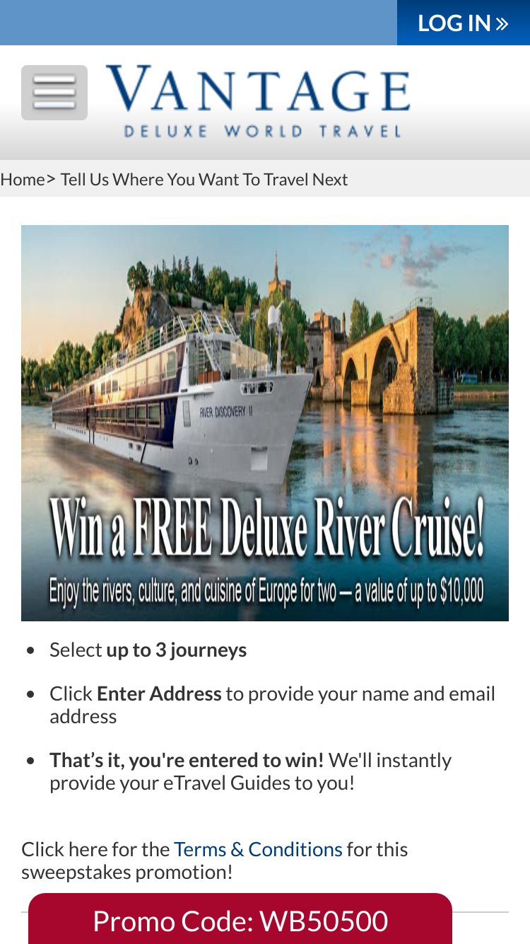 Vantage Travel – Deluxe River Cruise For Two – Win One
