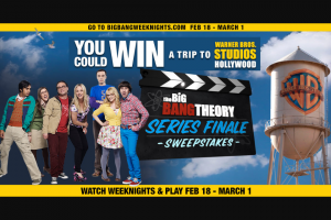Warner Bros – The Big Bang Theory Series Finale – Win Roundtrip economy class airfare for the Prizewinner and one (1) guest to Los Angeles