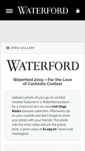 Waterford – For The Love Of Cocktails Contest Sweepstakes