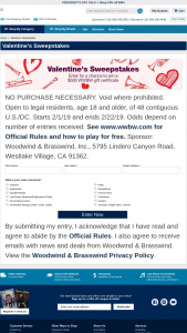 Woodwind & Brasswind – Valentine's – Win e-certificate redeemable for $500 worth of merchandise from Woodwind & Brasswind (from the call center or wwbwcom).