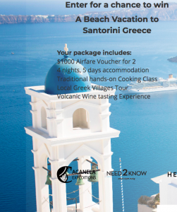 Acanela – Win a trip for 2 to Santorini, Greece valued at $5,000