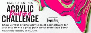 Blick Art Materials – Call For Entries: Acrylic Pouring Challenge – Win 1 of 5 prize packages valued at over $440.90 each