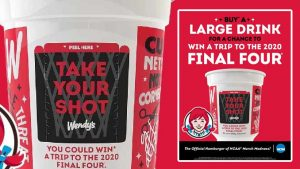 Coca-Cola – Wendy's Take Your Shot – Win a grand prize of a trip for 2 to Atlanta, GA for the 2020 NCAA Men's Final Four tournament valued at $7,500 OR thousands of minor prizes and coupons
