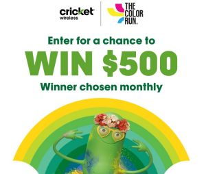 Cricket Wirelss – The Color Run National – Win 1 of 8 prepaid gift cards valued at $500 each
