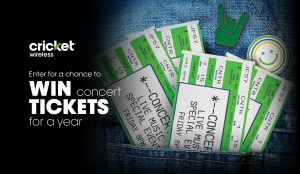 Cricket Wirelss – Win concert tickets for a Year valued at $3,000 (4 prizes to be won)