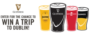 Diageo Beer Company – Guinness Dublin Brewery – Win a trip for 2 to Dublin valued at $3,250