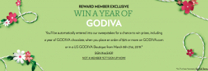 Godiva – Win a grand prize of a Year of Godiva OR 1 of 22 minor prizes