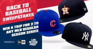 Hat World – Lids Access Pass Back to Baseball – Win a grand prize of 2 tickets to any MLB Regular Season series of their choice valued at $3,999 OR 1 of 10 Lids gift cards valued at $100 each