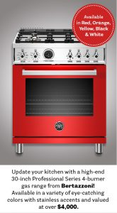 """House Beautiful – Win a Bertazzoni Professional Series 30"""" 4 Brass Burner All Gas Range in Winner's choice of available color valued at $4,294"""