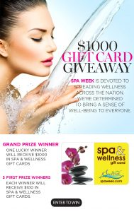 Interactive Wellness Group – Win a grand prize of $1,000 worth of Spa & Wellness gift cards by Spa Week OR 1 of 5 minor prizes