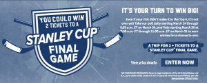 Kraft – Hockeyville 2019 – Win a trip for 2 to one of the cities where a 2019 Staley Cup Final Game valued at $6,400 OR 1 of 50 minor prizes