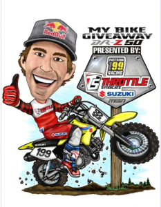 Throttle Syndicate – Win a Suzuki DR-Z 50 Customized with Throttle Syndicate Travis Pastrana Replica Graphics valued at $1,749