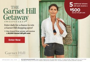 Travel + Leisure – Win a grand prize of a $5,000 Garnet Hill gift card OR 1 of 5 minor prizes