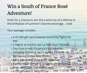 Wine Awesomeness – South of France Rose Adventure – Win a travel prize package valued at $3,000