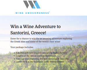 Wine Awesomeness – Wine Adventure to Greece – Win a trip for 2 for 5 nights valued at $3,500