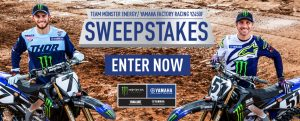 Yamaha Motor – 2019 Team Replica Yamaha YZ450F – Win a grand prizr of a 2019 Yamaha motorcycle valued at $10,699 OR 1 of 2 minor prizes