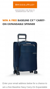 Briggs & Riley – Baseline Cx Carry-On Expandable Spinner – Win a Baseline CX Carry-On Expandable Spinner which retails at approximately $639.